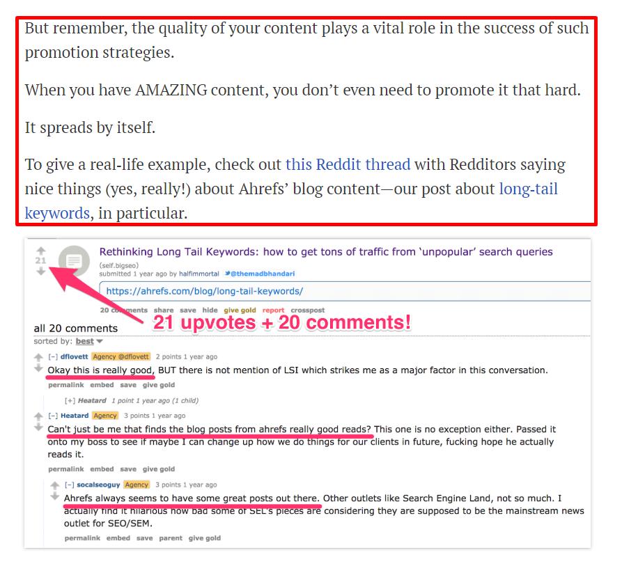 Пример Reddit для тематического исследования Ahrefs