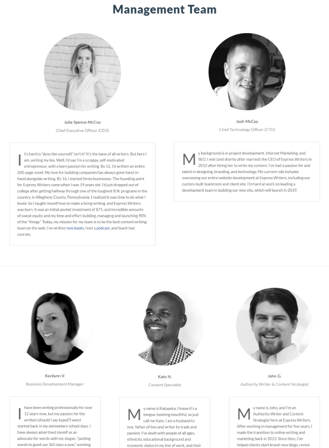 storytelling team page example