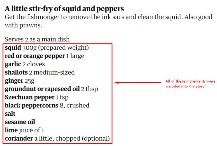 recipe in a story