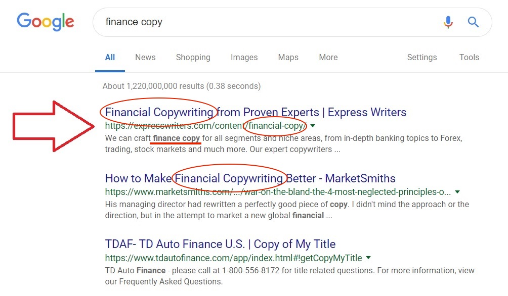 finance copy screenshot