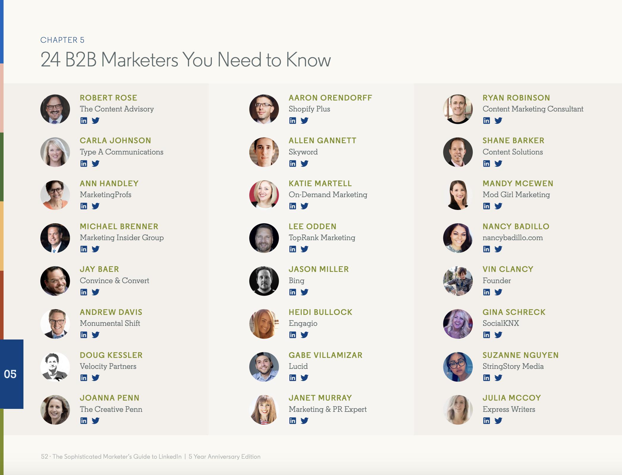 linkedin b2b marketers to follow