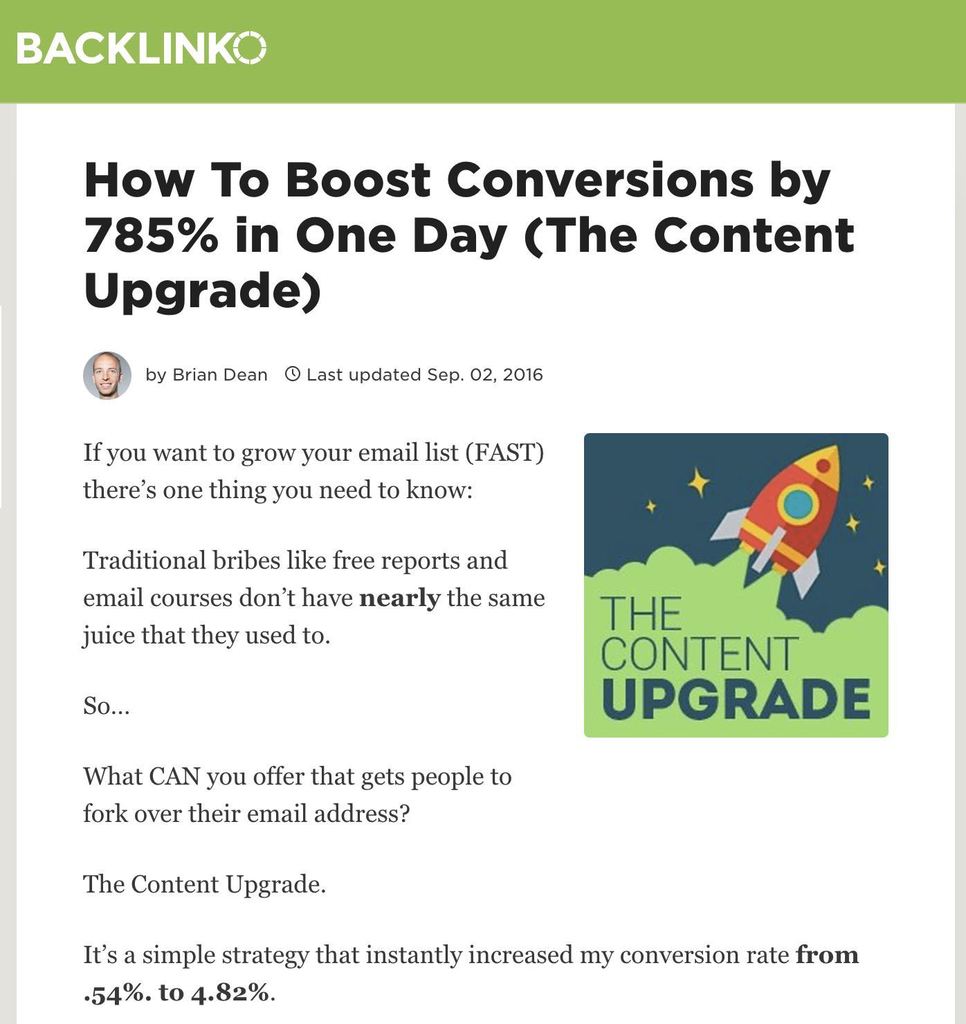 brian dean content upgrade