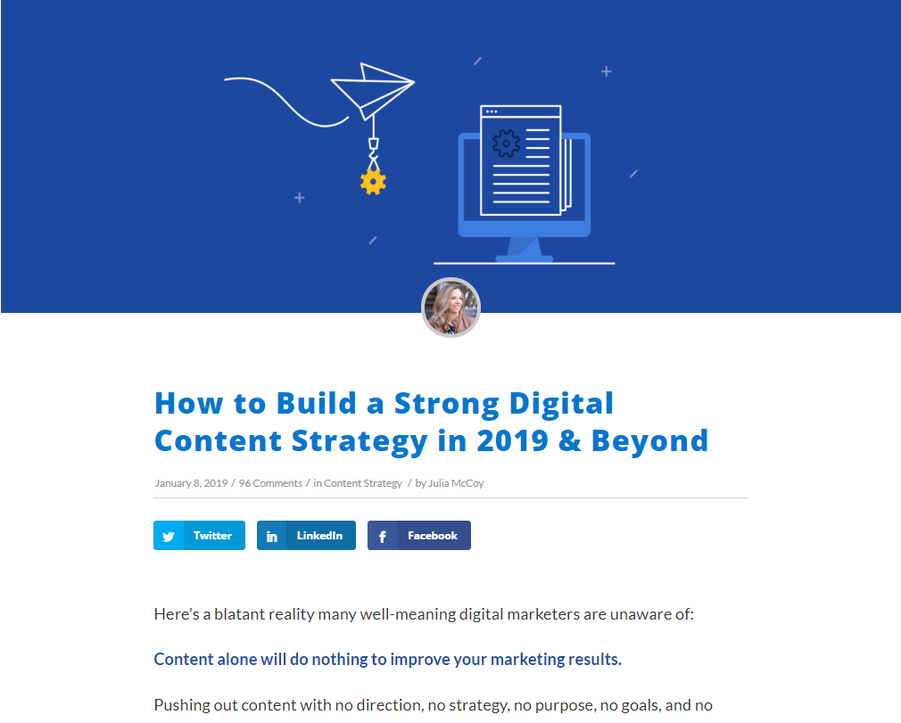 "Express Writer's blog post ""How to Build a Strong Digital Content Strategy in 2019 & Beyond"""