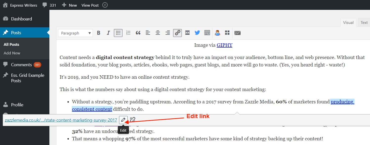 When you click on a link, a toolbar appears that gives you the option to edit the link. Click on the pencil button to edit the link and allow it to open in new tab.