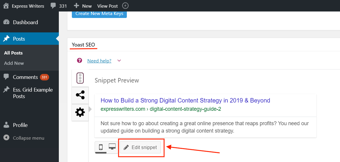 The Edit Snippet button in the Yoast SEO plugin you'll see below the blog draft in WordPress Editor