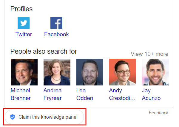 "Where you can see the ""Claim this Knowledge Panel"" button in a Google search results page."