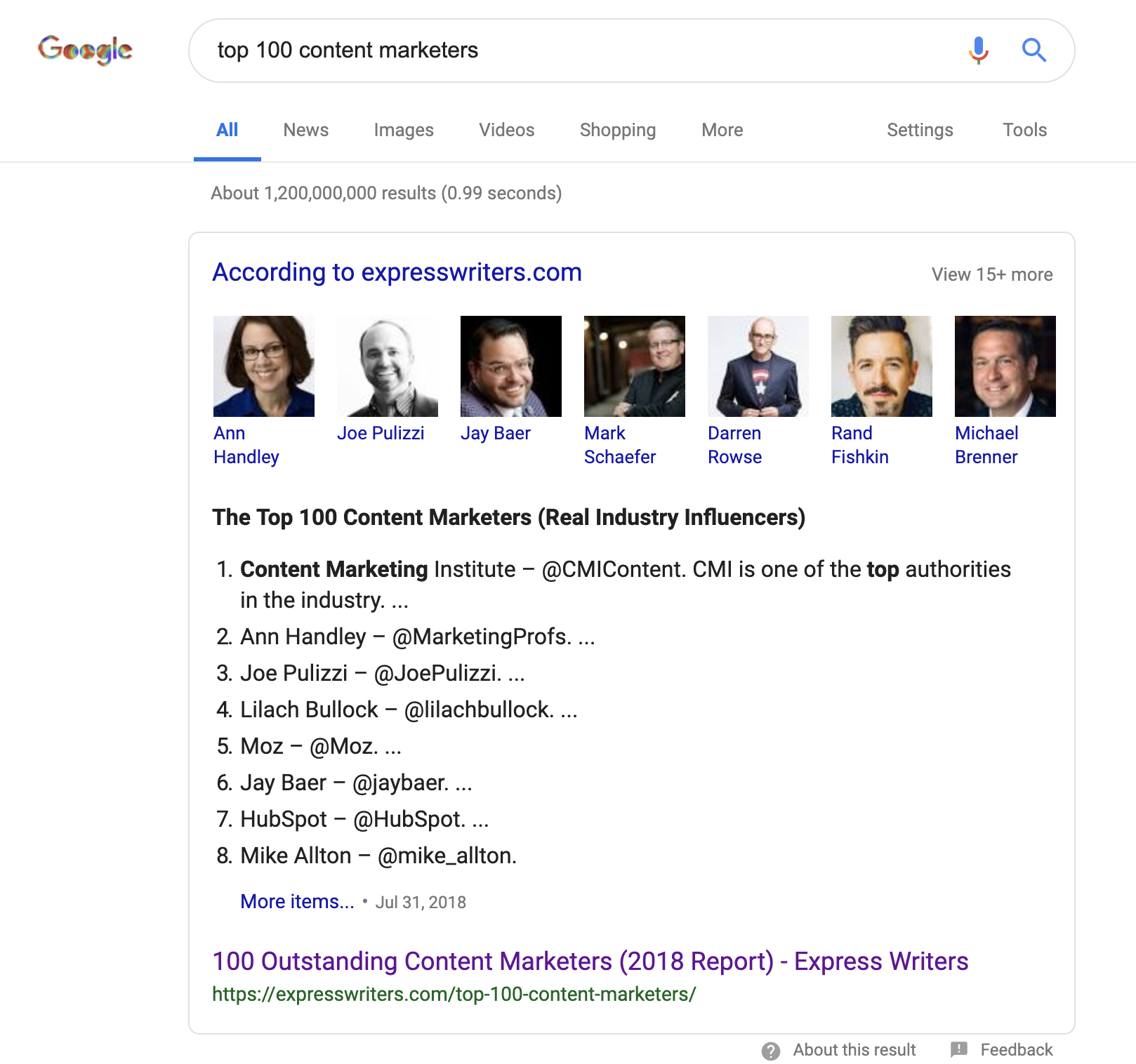 "A featured snippet from Express Writers for ""the 100 top content marketers"" typed in the Google search box."