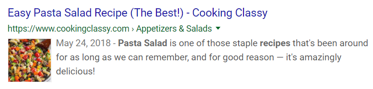 "Normal search result in Google for the keyword ""pasta salad recipe"""