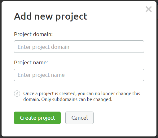 "The Add new project"" dialog box in SEMrush where you type project name and domain."