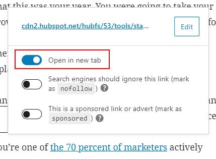 wordpress block editor edit link