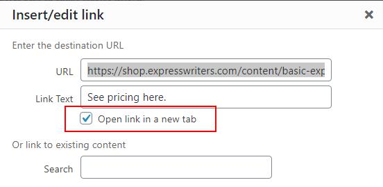 wordpress open link in new tab