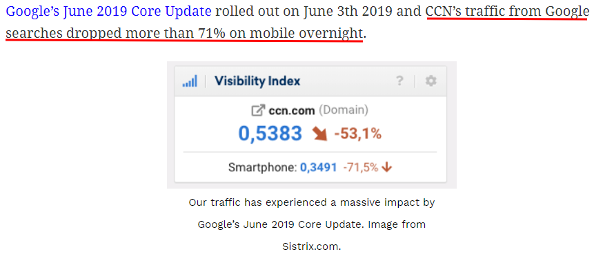 Sistrix.com's Visibility Index shows mobile traffic from Google searches dropped by over 71% within 12 hours.