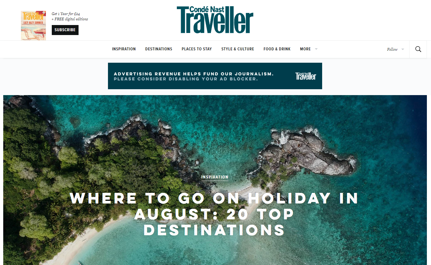 Travel news media sites like CNTraveller.com dropped by 18%.