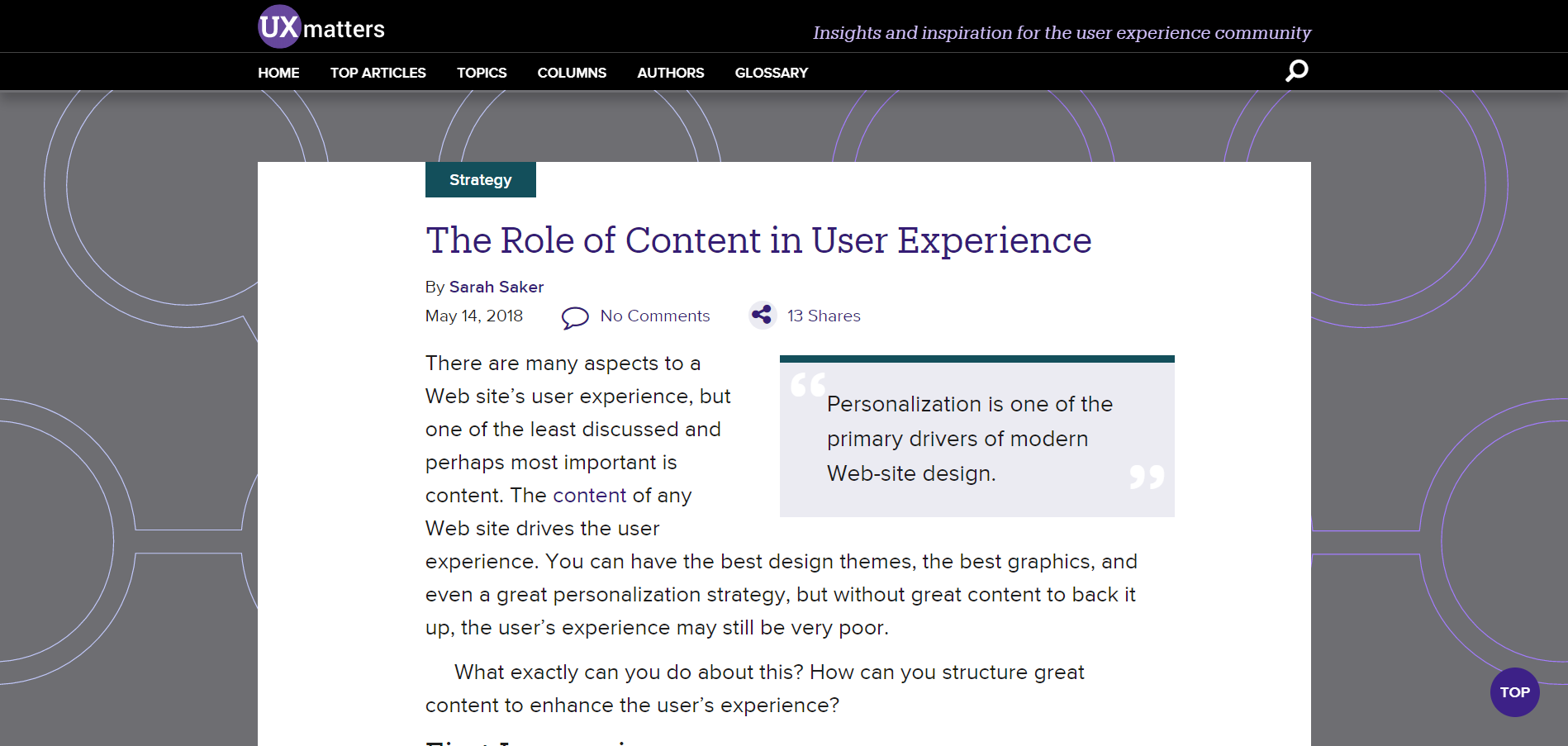 • The Role of Content in User Experience by Sarah Saker for Uxmatters