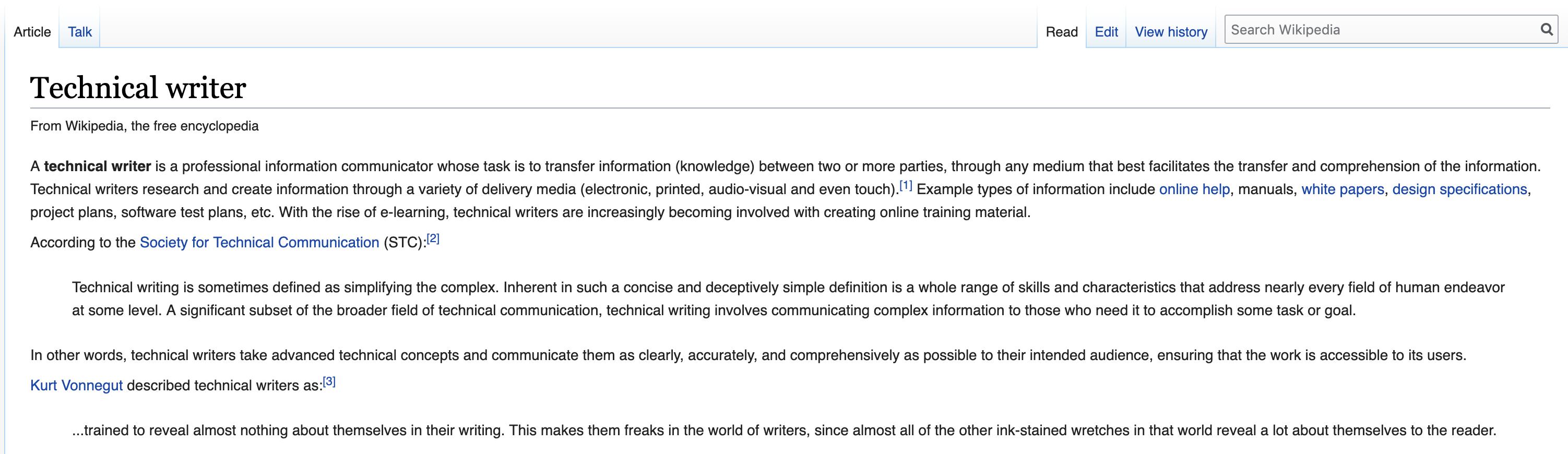 wikipedia tech writer