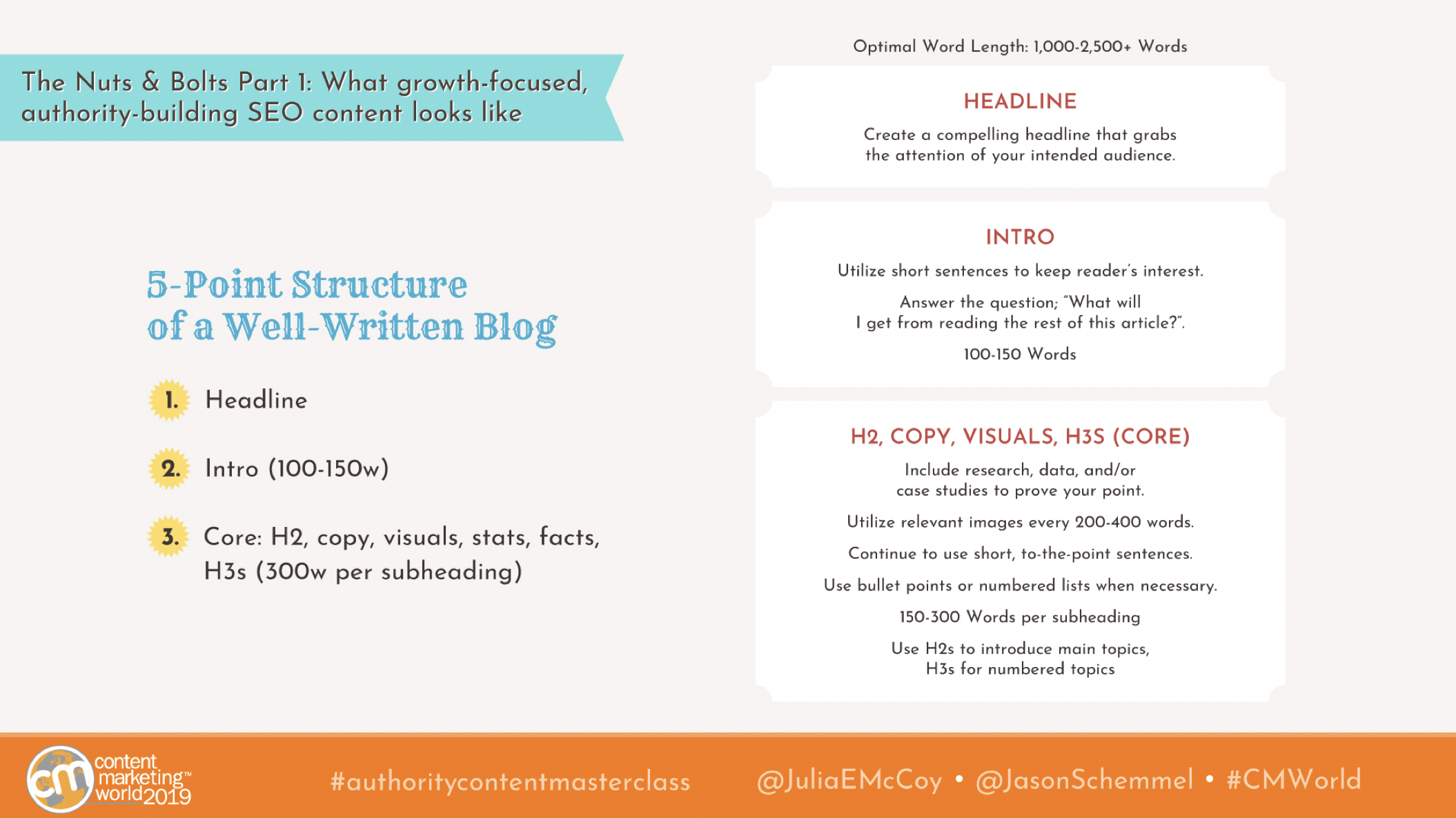 five point structure of a well written blog