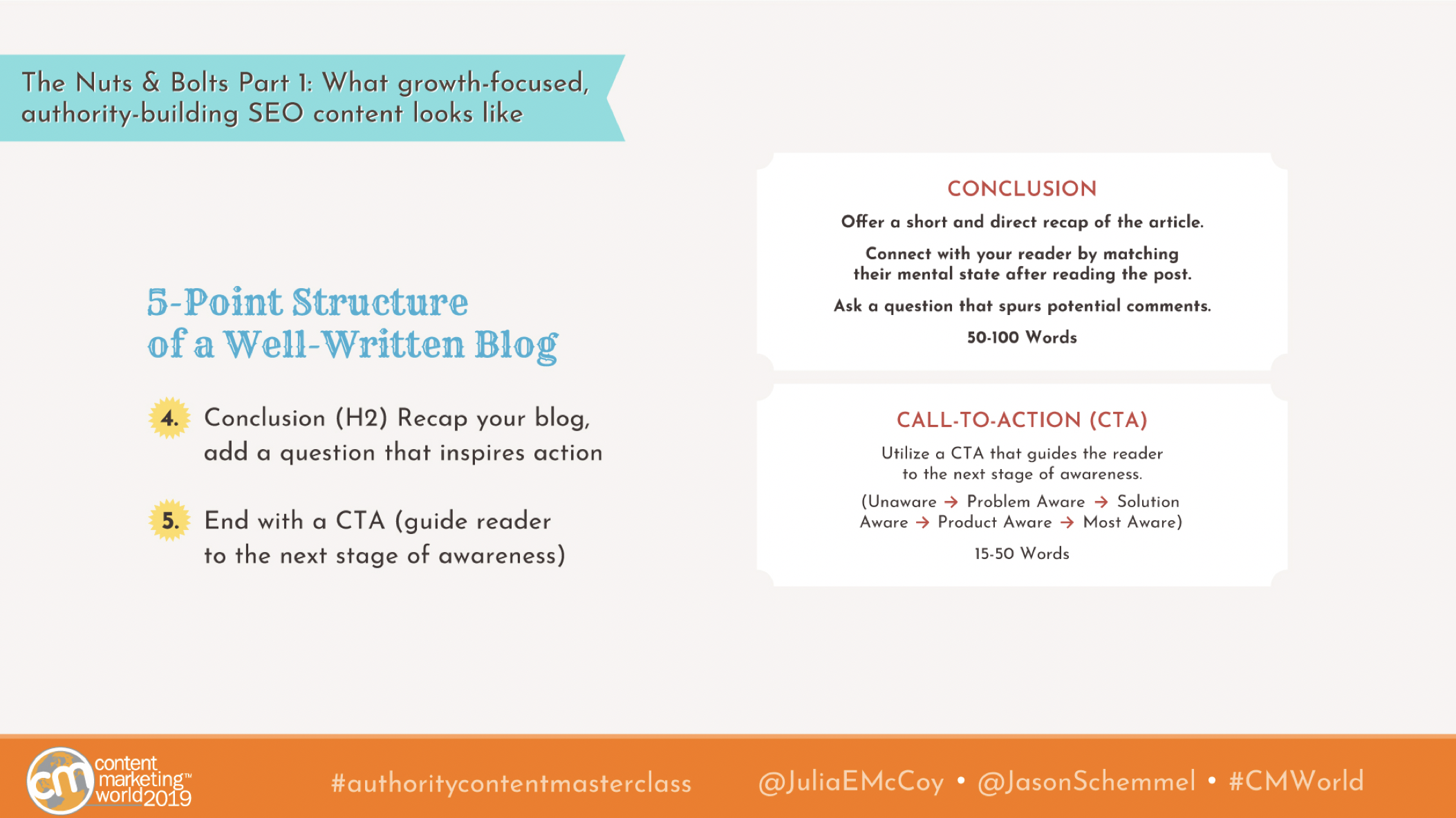 julia mccoy five point structure of a well written blog
