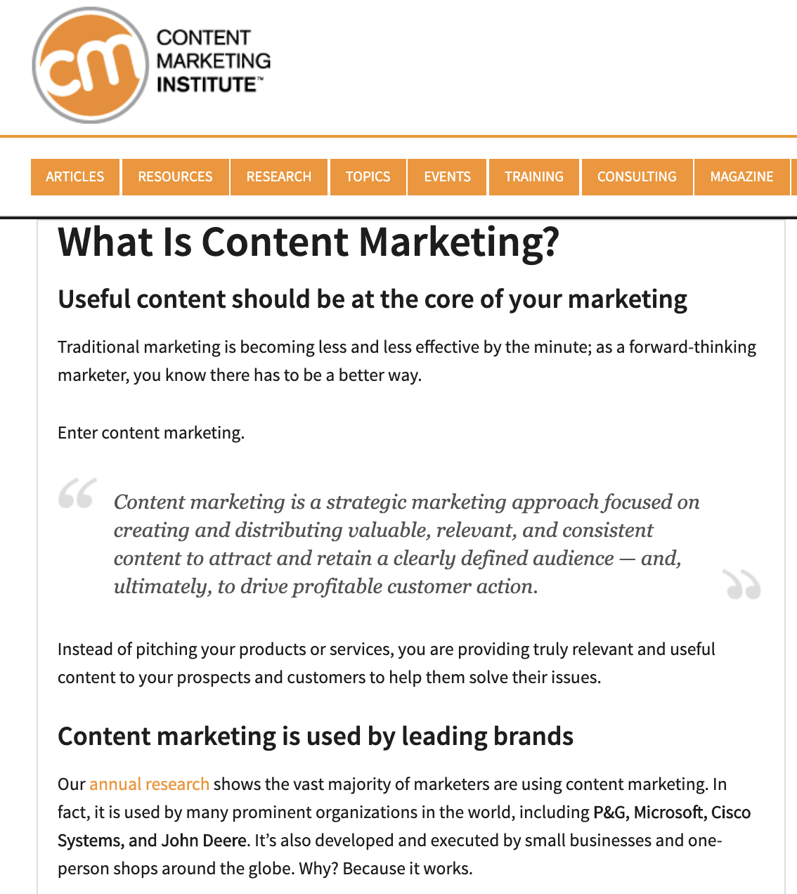 content marketing definition cmi