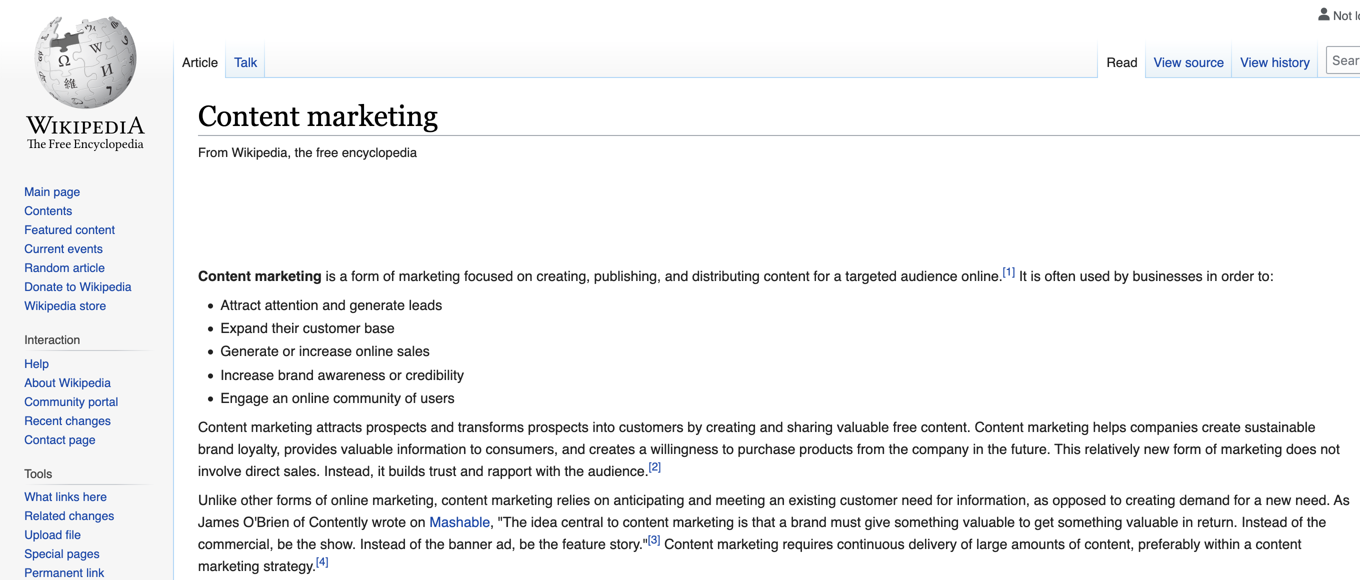 content marketing definition wikipedia