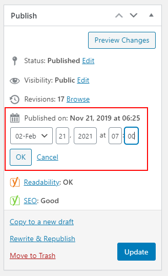 wordpress edit published date