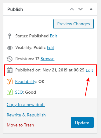 wordpress post edit published date