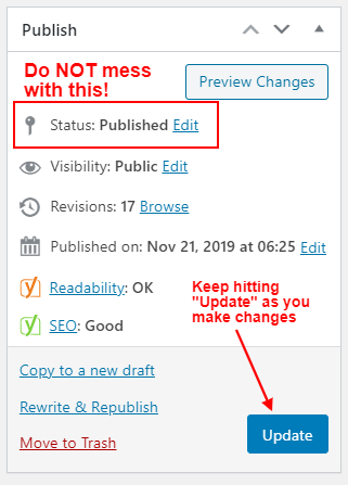 wordpress publish status