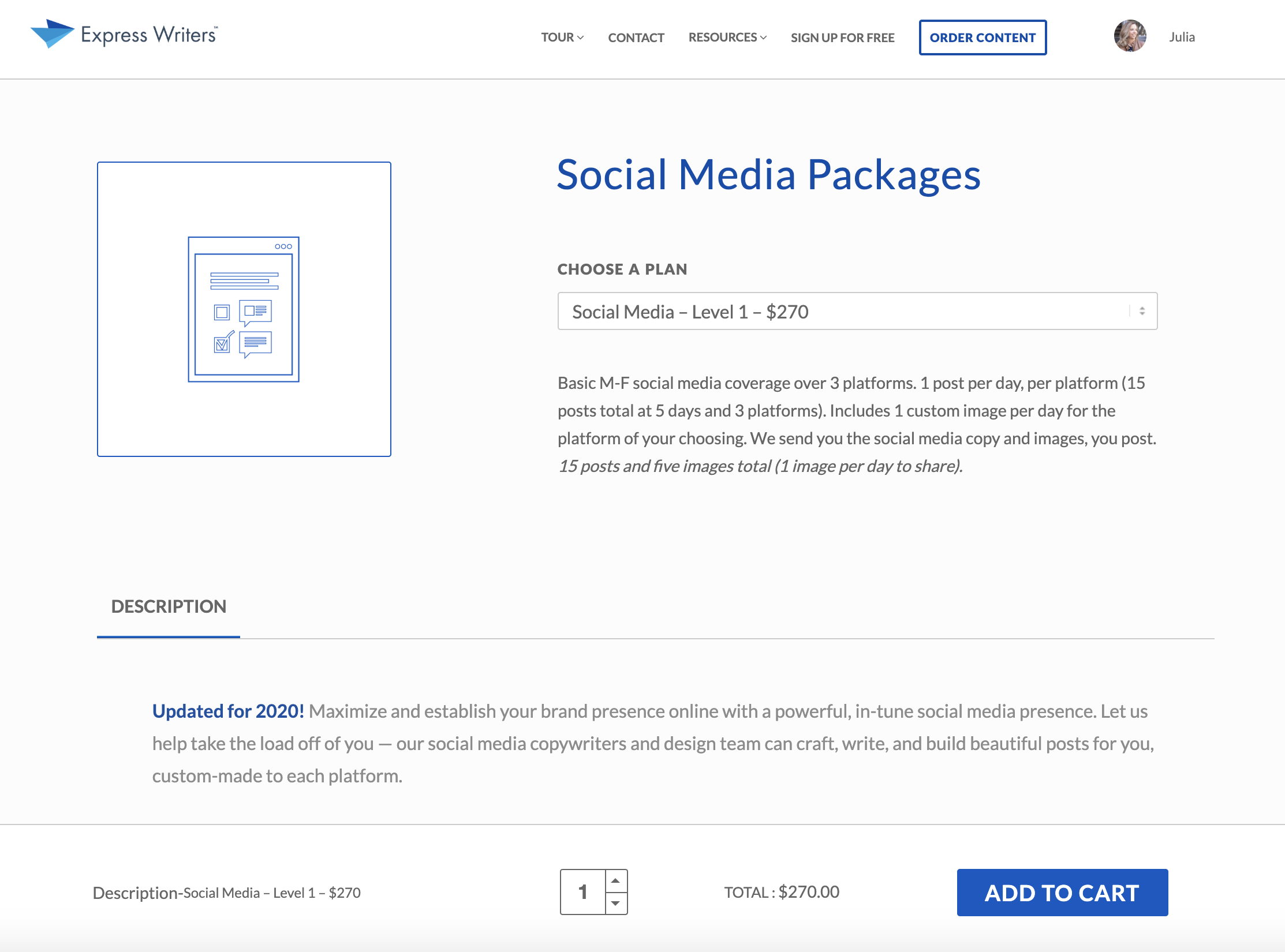 social media packages express writers