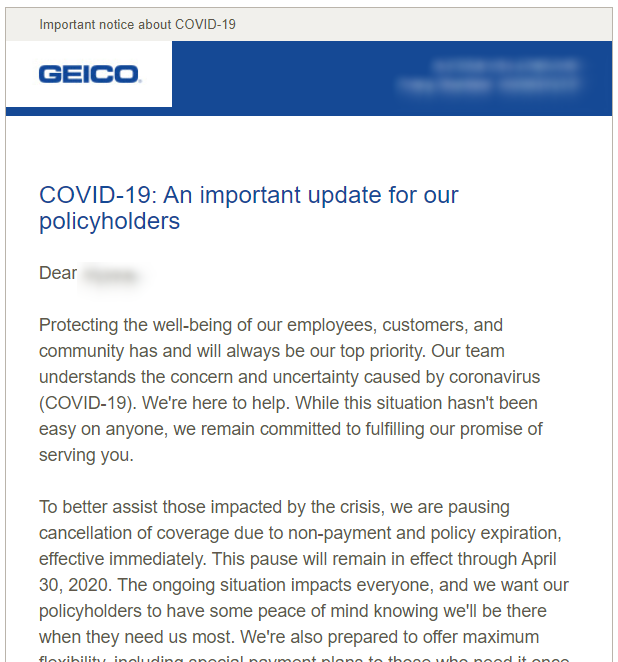 Geico email update about the pandemic