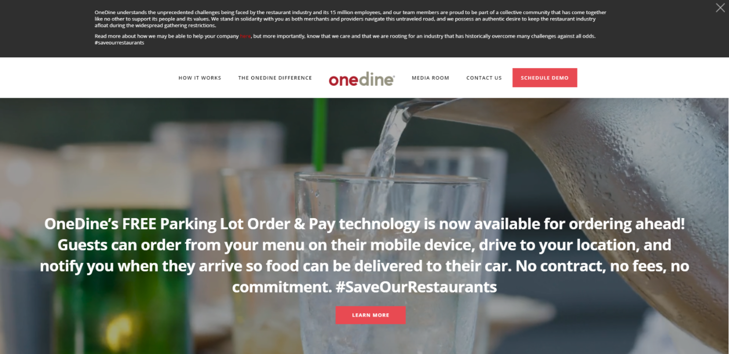 OneDine offering free Order and Pay technology