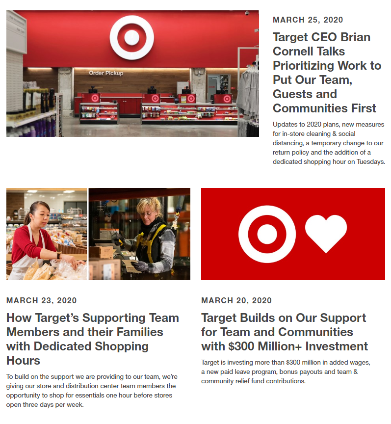 Target's empathetic response to the pandemic