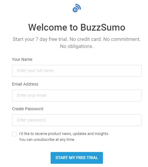 buzzsumo landing page