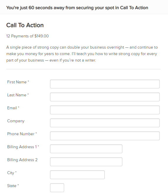 landing page form example
