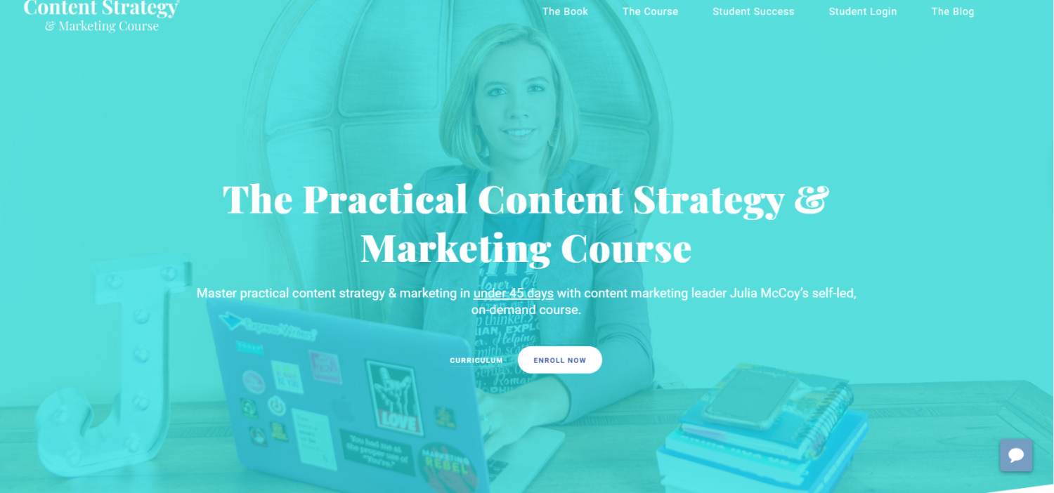 content strategy and marketing course landing page