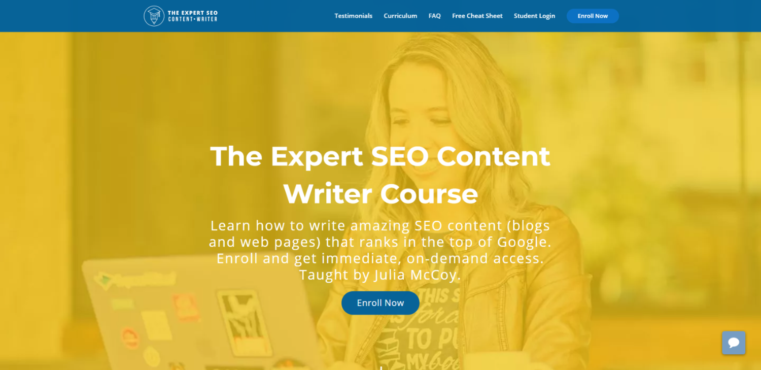 expert seo content writer course landing page