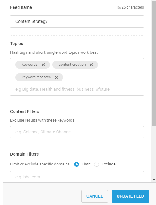 content strategy custom feed on BuzzSumo