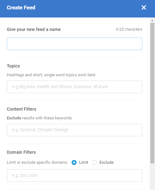 create a custom feed on BuzzSumo