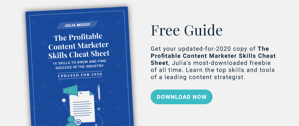 Download the Profitable Content Marketer Skills Cheat Sheet