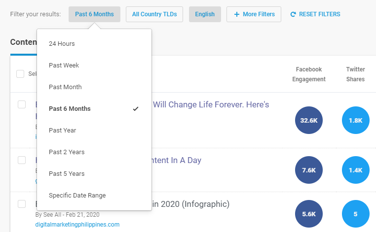 BuzzSumo - filter web content analysis results
