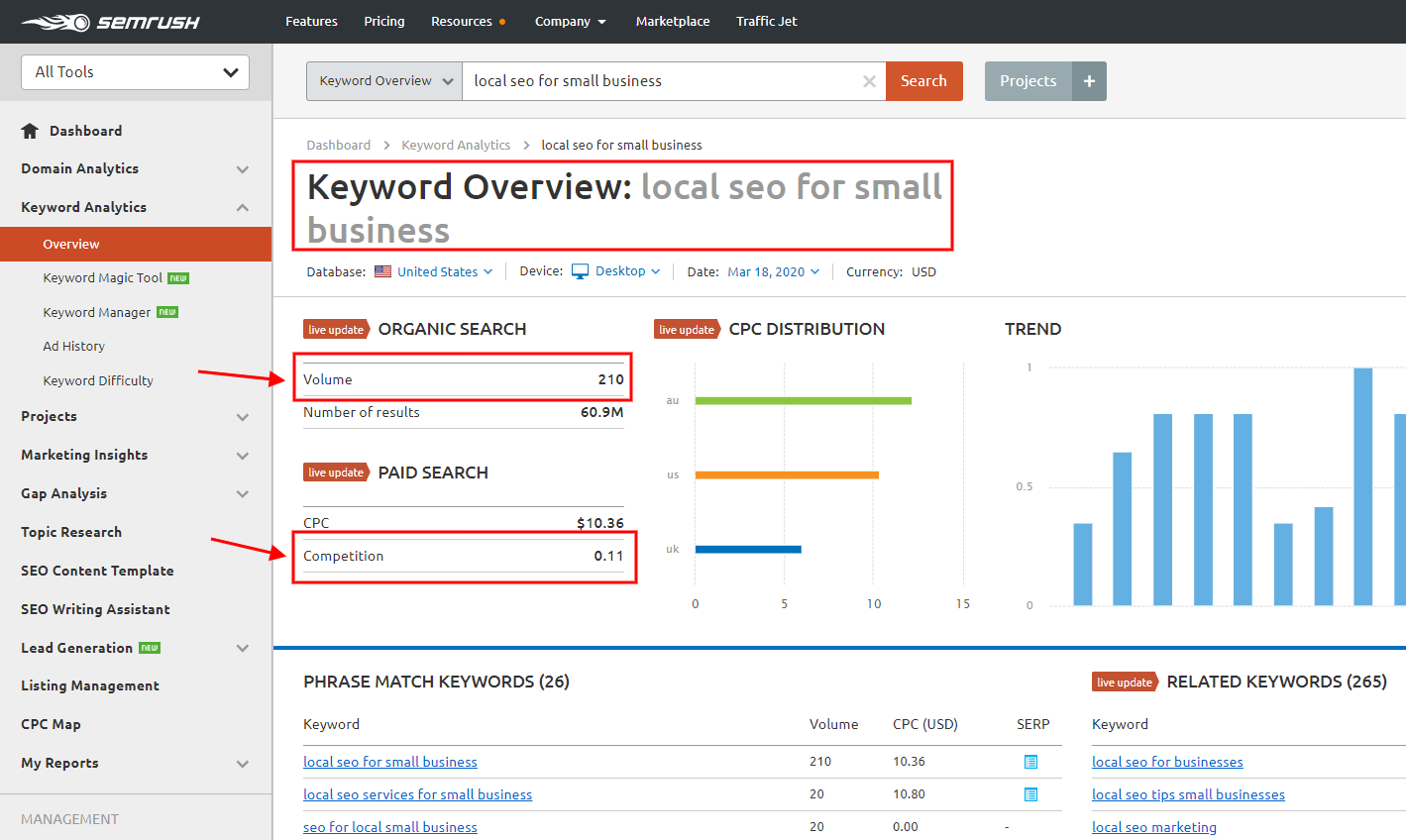 keyword overview - local seo for small business