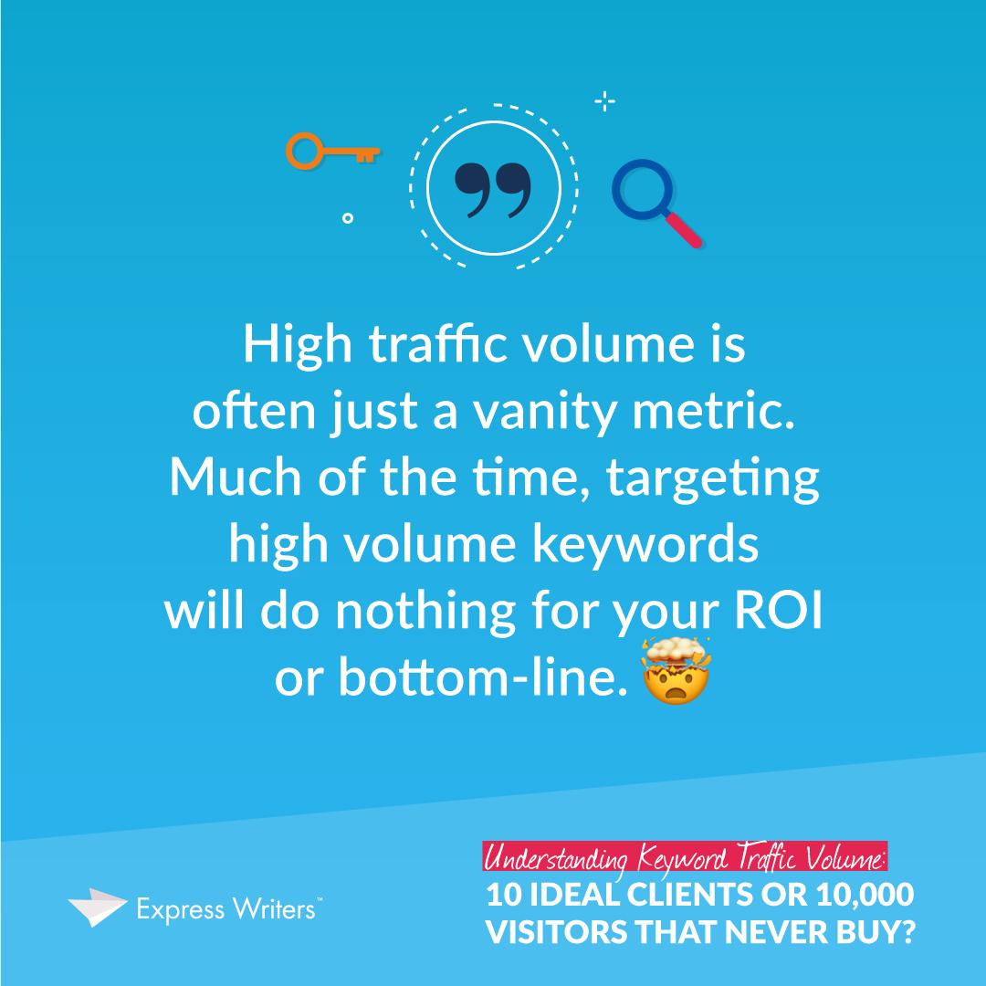 High keyword traffic volume is often a vanity metric