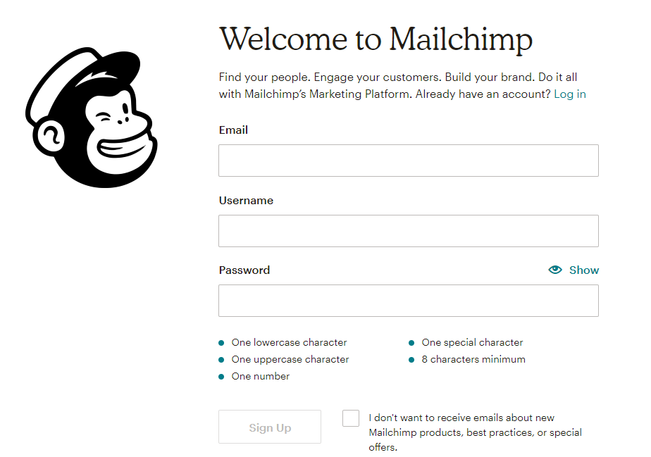 Mailchimp sign-up