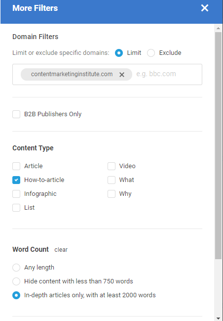 BuzzSumo web content analyzer more filters