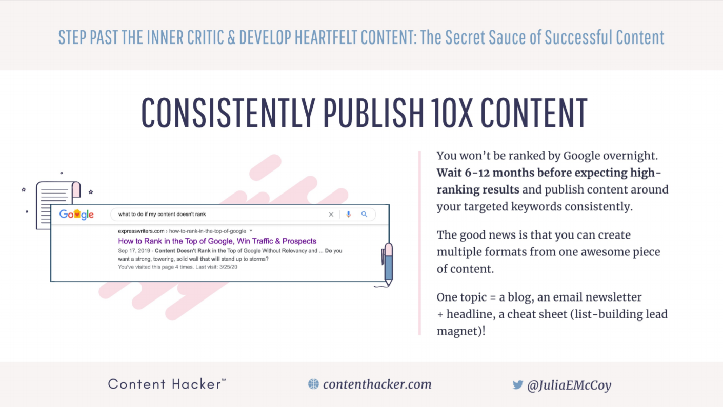 Consistently publish 10x content