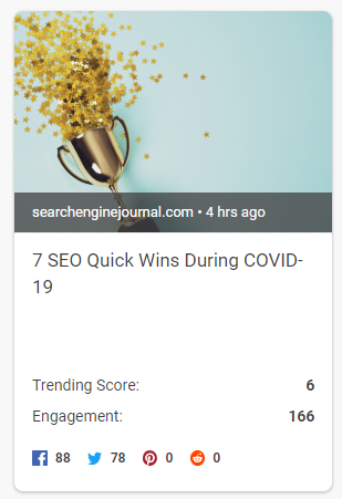 BuzzSumo trending topic result