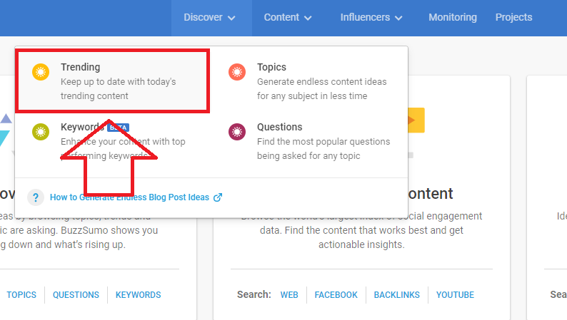 finding trending topics using BuzzSumo discover