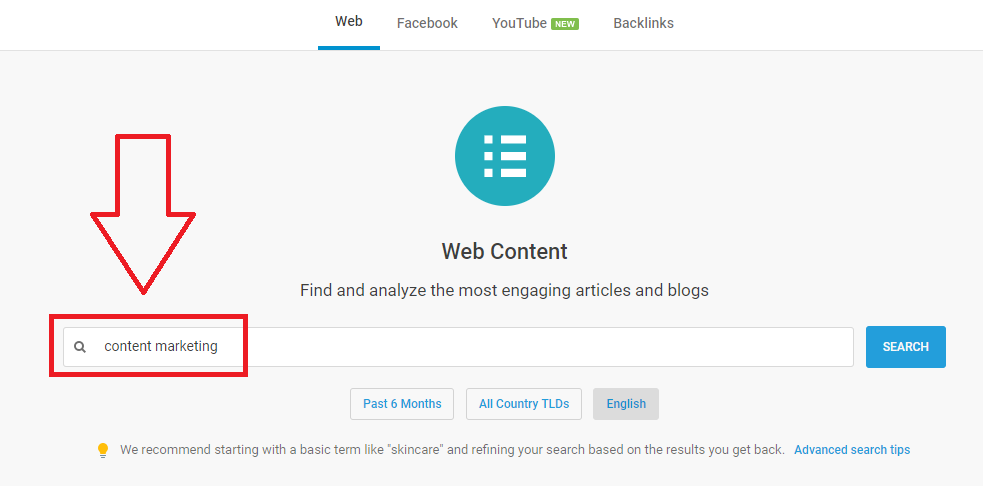 Searching using BuzzSumo web content analyzer