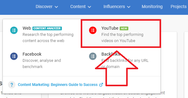 analyze top YouTube content on BuzzSumo