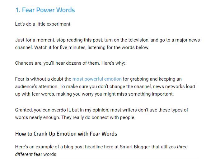 power words blog post lead magnet