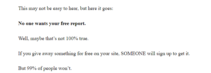 Brian Dean no one wants your free report