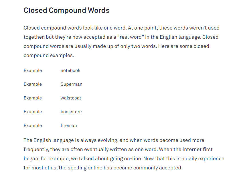 definition of closed compound words